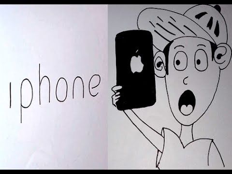 How to draw the word 'iphone' into a phone with cartoons easy drawing, 3D ARTS for kids