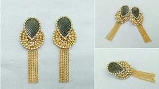 How To Make Designer Earrings // Bridal Hangings // Paper Jewellery Making // paper jewelry// DIY