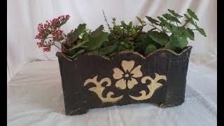 IDEIA SUPER FÁCIL, Maceta de cemento con caja de carton!   Cement flowerpot using a cardboard box!