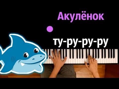 Акулёнок ту-ру-ру-ру ● караоке | PIANO_KARAOKE ● ᴴᴰ + НОТЫ & MIDI