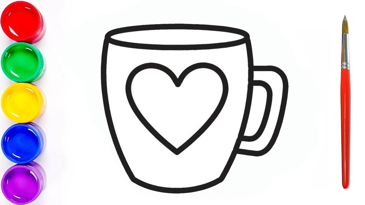 Ensine seu filho a colorir | Ensinando crianças a desenhar uma xícara