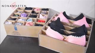 DIY How to make underwear Organizer forom cardboard /  cara membuat box pakaian dalam dari kardus