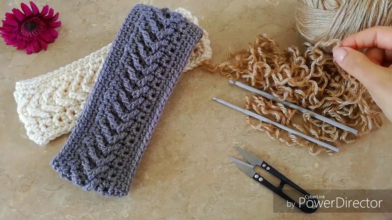 Banda diadema en punto flecha a crochet hearband youtube - Diademas a crochet ...