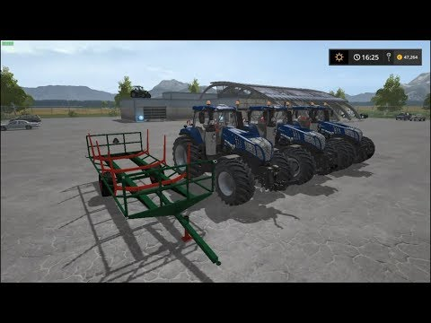 NEW HOLLAND T8 BLUE POWER, HOMEMADE WOOD TRAILER  FS 17