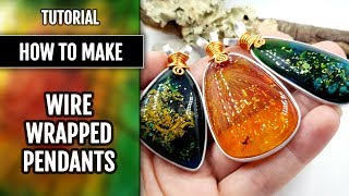 HOW TO: Bezel Flat Wire Wrap Faux Resin Amber cabochons into a beautiful Pendants!