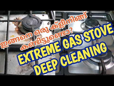 Deep clean with me malayalam vlog Extreme gas stove cleaning Nontoxic baking soda vinegar cleaning