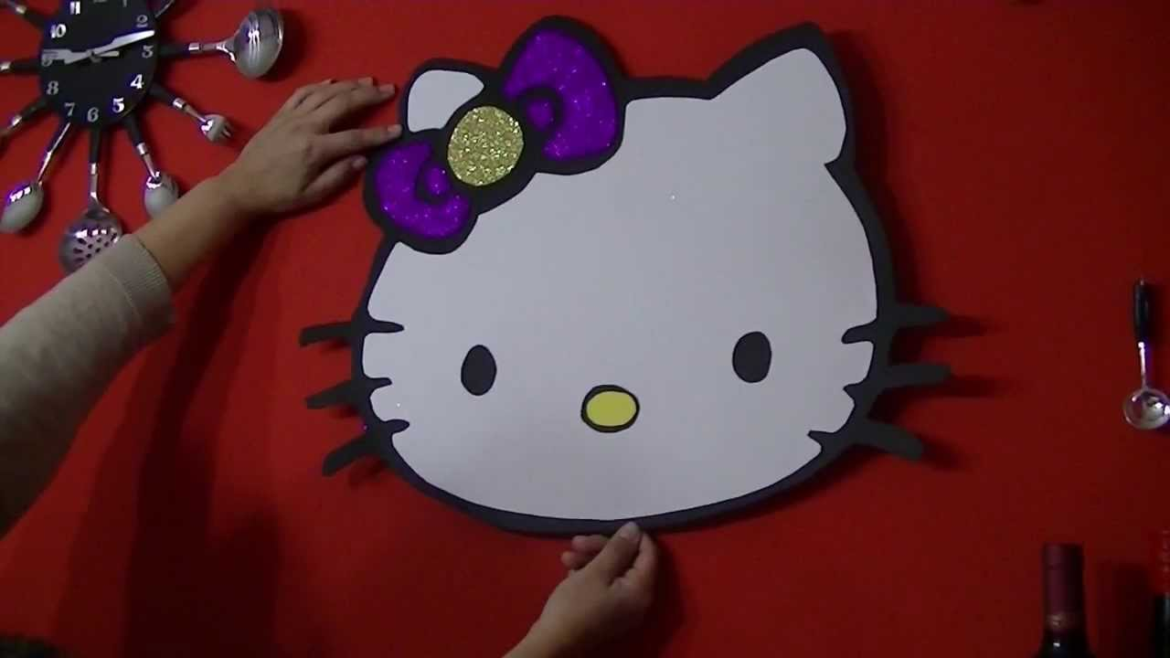 decoracion de goma eva hello kitty - YouTube