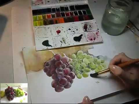 Виноград акварелью, Aquarell, Watercolor.mp4