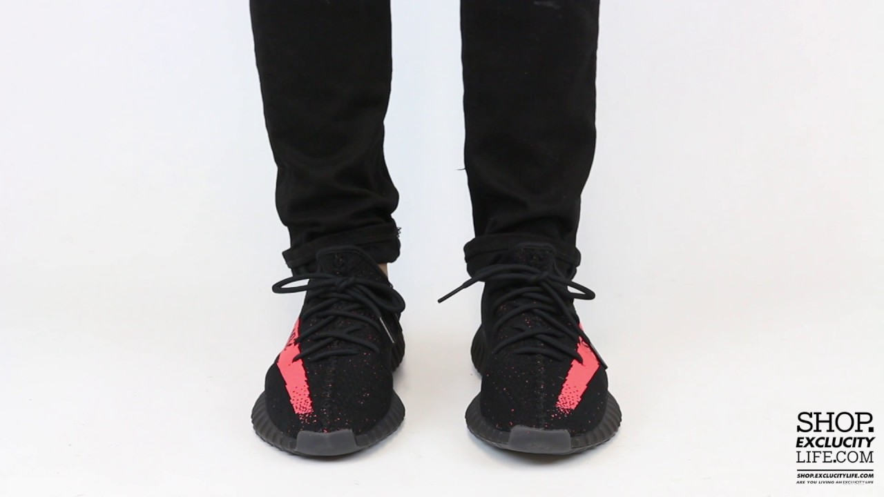 new product 76e2e 0689c Adidas Yeezy Boost 350 V2 Black - Red On feet Video at Exclucity