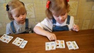 Домино Двойняшки играют в домино Игра Twins playing dominoes dominoes Game