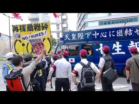 対峙する右翼街宣車と反原発右派市民 - 2015.6.7 福岡市