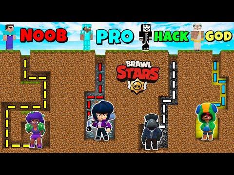 Minecraft NOOB vs PRO vs HACKER vs GOD: MAZE BRAWLERS FROM Brawl Stars Challenge in Minecraft!