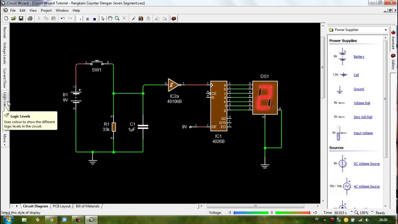 circuit wizard livewire tutorial counter circuit with seven segment [ 1280 x 720 Pixel ]