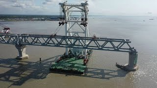 A glimpse of main structure of China-built Bangladesh's largest bridge