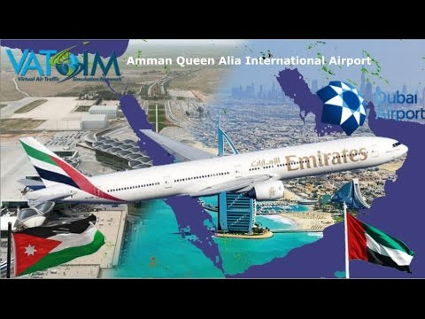 PMDG B77W flies Amman Jordan OJAI to Dubai OMDB on Vatsim