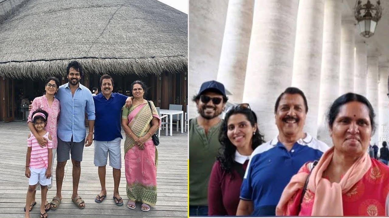 Actor Karthi Enjoying Vacation with Wife Ranjani and ...  Actor Karthi Daughter Umayaal Photos