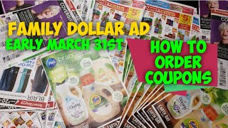 How to order Coupons + EARLY March 31st Family Dollar Ad P&G coupon