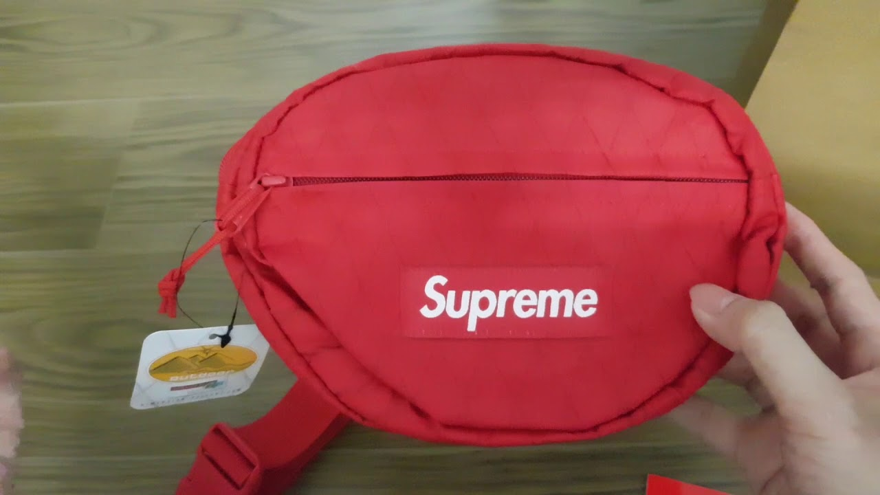 1341c0b27271 Unboxing Supreme Waist Bag (FW18) Red - YouTube