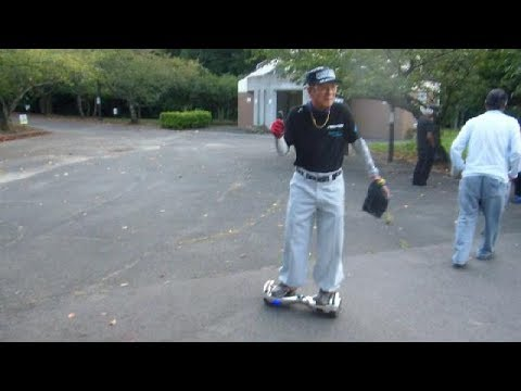 80 Year Old Japanese Man Rides Hoverboard!!