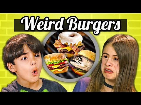 KIDS EAT WEIRD BURGERS! (Donut, Canned, Vegan) | Kids Vs. Food