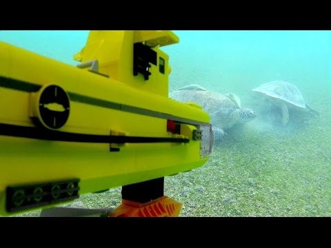 Lego submarine under water. Searching for REAL sea turtles