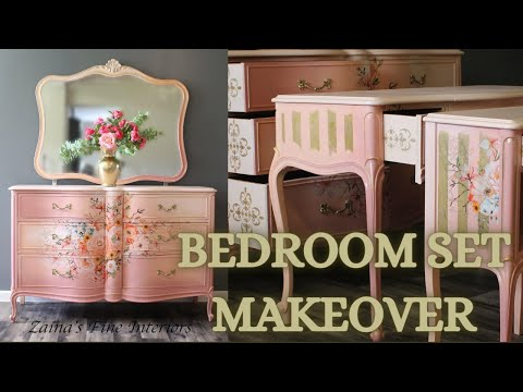 DIY/How to Blend Paint On Furniture with clean Strips and Rose Celebration Furniture Transfer