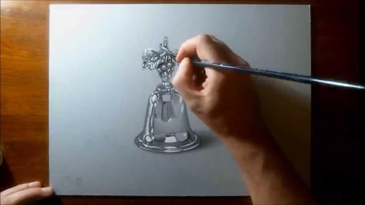 Disegno realistico effetto 3d in time lapse campanella d for Disegno 3d free