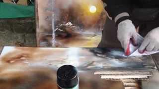 Malowanie sprayem na papierze powlekanym plastikiem, obraz w 5 minut, Pan czary mary