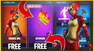 "New ""TRICERA OPS"" & "" BITEMARK"" Free in Fortnite Battle Royale // New FREE Tricera Ops in Fortnite"