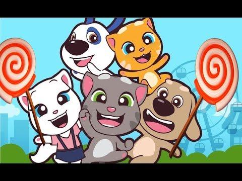 Говорящий Том и Мини Друзья, ПОБЕГ за КОНФЕТАМИ #3 мультик игра для детей с Анджелой #Мобильные игры