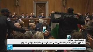 ناشطون يرفعون العلم الفلسطيني خلال كلمة فريدمان أمام مجلس الشيوخ الأمريكي