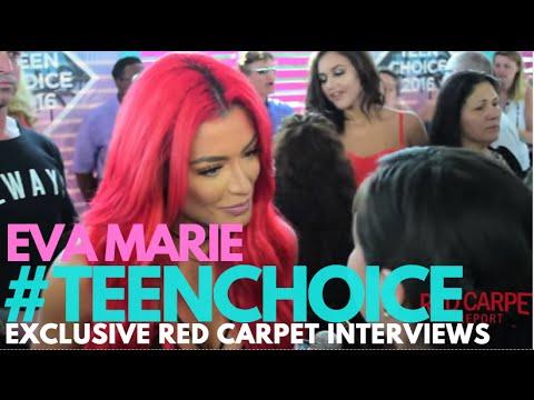 Eva Marie #WWEDivas interviewed at the 2016 Teen Choice Awards Teal Carpet #TeenChoice