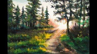 🎨  Пейзаж маслом | Утро в лесу | Рисуем руками, бумагой | Aleksandr Grigorev