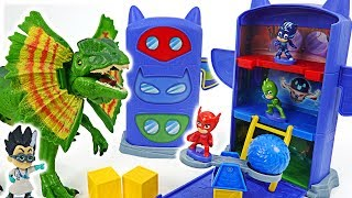 Dinosaur appeared! PJ Masks Fold N Go Headquarters! Go! #DuDuPopTOY