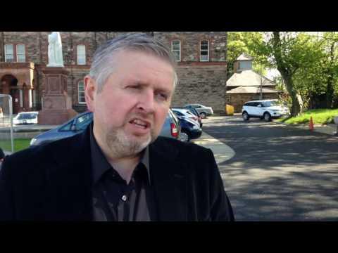 Holy Cross Charlie Flanagan visits Holy Cross Church, Ardoyne