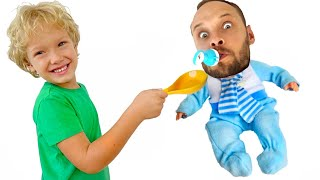 Lev and dad play fun games / lev family show