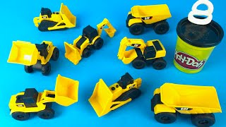 CAT Construction Mini Machines with playdoh play - Bulldozers Excavators Dump Truck