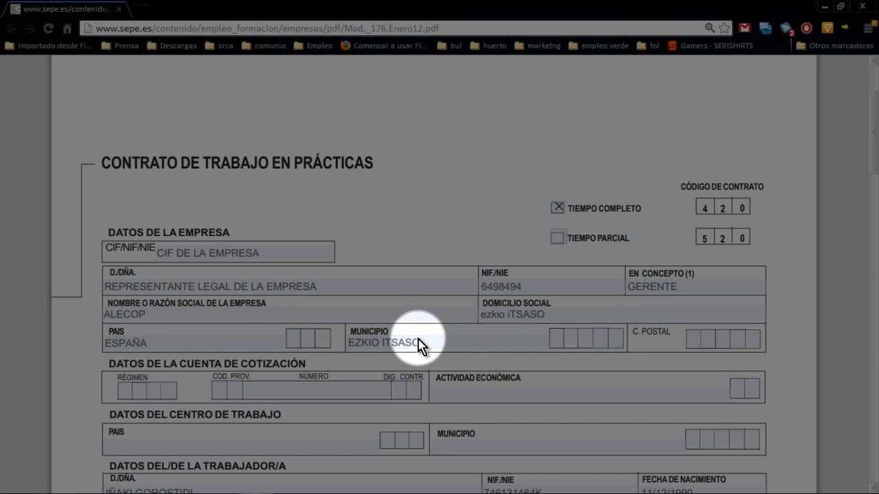 Contrato de trabajo en practicas youtube for Modelo contrato empleada de hogar indefinido