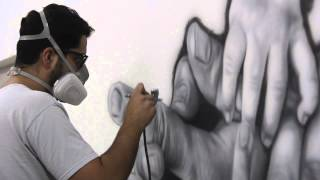 Fernando Motilla Zarur, Timelapse painting -Descendencia, óleo sobre tela, 300 x 150 cm. 2014-