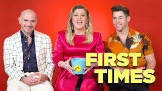 Nick Jonas, Kelly Clarkson, And Pitbull Tell Us About Their First Times Video