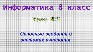 Информатика 8 класс (Урок№2 - Основные сведения о системах счисления.)