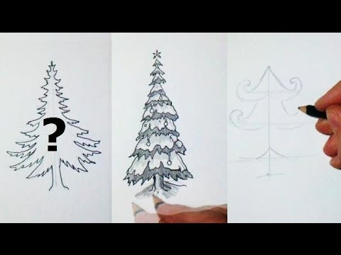 How I Draw a christmas Tree - 10 Different styles - YouTube