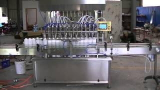 Automatic 12 heads liquid filling machine with plunger type metering pump for shampoo