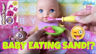 💦Waterbabies Fun Bath Time Baby Eats Pink Kinetic Sand and Cupcake for Desert🍦🍓 Potty & Changing