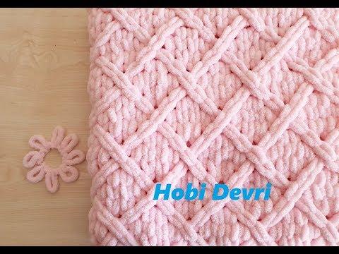 DIY,Easy Baby Blanket With Finger,Diamond Knitting,Alize Puffy Baklava Desenli Bebek Battaniyesi