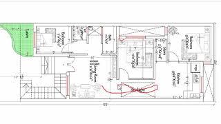 20x55 three bhk house plan