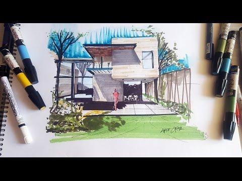 Dibujo de una casa usando un punto de fuga para la perspectiva