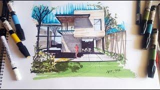 Dibujo de una casa usando un punto de fuga para la perspectiva Arte Orta