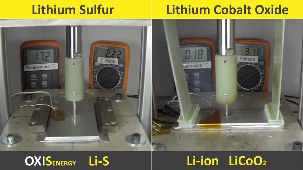 lithium sulfur cell nail test vs li ion youtube rh youtube com