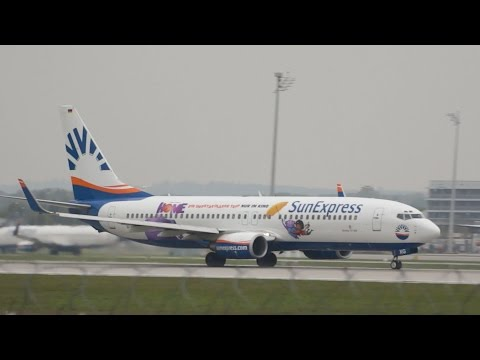 SunExpress Deutschland Boeing 737-8CX Special Livery D-ASXG departure at Munich Airport